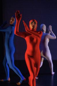 artwallah 2018 tech rehearsal highways performance space singer Lauren Hickey dancers Anna Weideman (white), Chantal Cherry (blue), Danish Bhandara (red)